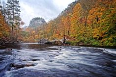 Autumn View of Crow Point - An autumn view of Crow Point from the Little River in Little River Canyon National Preserve, Alabama
