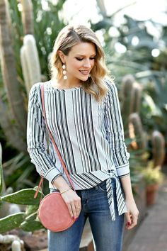 You'll be a standout in our Poplin Side-Tie Top - Parlor Stripe - only at Talbots! Office Fashion Women, Black Women Fashion, Womens Fashion, Blouse Styles, Blouse Designs, Classic Style Women, Modern Classic, Casual Fall Outfits, Pullover