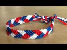 Bracelet Brésilien facile motif tresse  Tutoriel en Vidéo Bleu Blanc Rouge