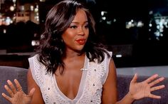 """Now starring on ABC's Emmy-winning dramaHow to Get Away With Murder, Aja Naomi King's first job in the acting field was a little less glamorous.  During her Thursday appearance onJimmy Kimmel Live!, King revealed that her first gig out of school was at Disneyland, where they refer to their employees as """"cast members."""" In particular, King worked on the Indiana Jones Adventure ride, where her job consisted mainly of verifying height requirements and saying, """"Right this way for yo..."""