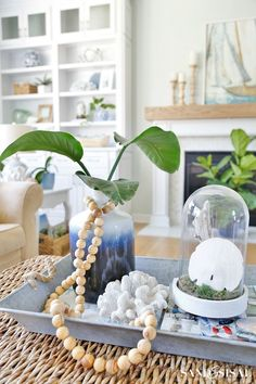 Coastal Decor - Wood Bead Strand - Escape to the sea with this summer blues coastal family room tour! Get easy coastal decorating ideas to transform your home into a chic coastal retreat. Complete with product source links!