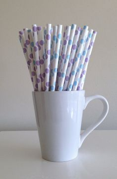 Paper Straws - 25 Light Blue and Light Purple / Lilac / Lavender and White Polka Dot Party Straws Birthday Wedding Baby Shower Bridal Shower by PuppyCatCrafts, $3.60