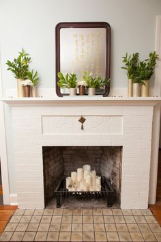 Empty Fireplace Ideas, Unused Fireplace, Candles In Fireplace, Home Fireplace, Faux Fireplace, Modern Fireplace, Fireplace Design, Fireplace Blower, Fireplace Makeovers