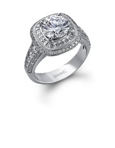 Simon G.  engagement ring with baguette diamonds #JewelryDesignCenter
