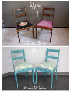 Switch Studio: Before & Afters, painted, reupholstered, chairs, robin's egg blue, aqua, thomas paul fabric