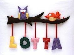 Türschilder - Türschild Eule Stoffbuchstaben - ein Designerstück von kleine-wichtelwelt bei DaWanda