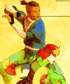 Avatar the Last Airbender: Kioshi Warrior, Suki, and Sokka of the Southern Water Tribe. Suki And Sokka, Suki Avatar, Korra Avatar, Team Avatar, Narnia, Power Rangers, Chihiro Cosplay, Avengers, Water Tribe