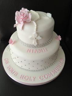 Resultado de imagen para first communion cake ideas Communion Solennelle, First Holy Communion Cake, Comunion Cakes, Cake Paris, Confirmation Cakes, Baptism Cakes, Religious Cakes, Communion Decorations, Girl Cakes