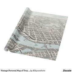 Vintage Pictorial Map of Troy New York (1877) Wrapping Paper