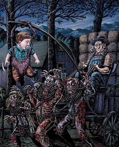 Funny zombie halloween artwork illustration