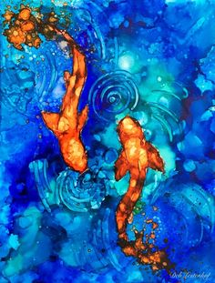 """""""Koi pond"""", alcohol ink painting by amazing ink artist Deb Lestenkof"""