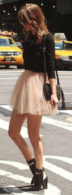 Blush tulle mini skirt & black booties.