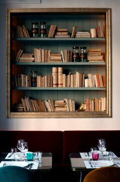 framed shelves, Cafe Kafka