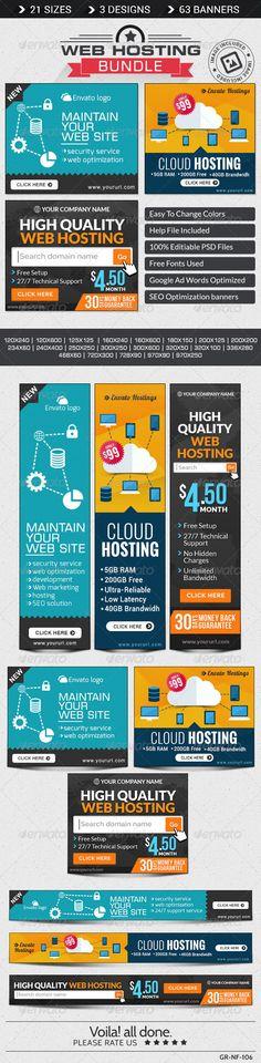 Web Hosting Banner Bundle - 3 Sets - Banners & Ads Web Elements