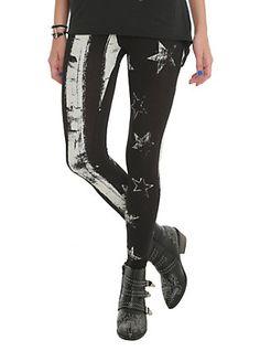 Stars And Stripes Black Leggings,