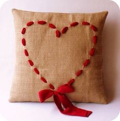 DIY lg sweet kot ~ // A wonderfully simple, yet ever so darling Valentine's Day ribbon heart pillow. #cushion #pillow #red #ribbon #heart #Valentines #home #decor