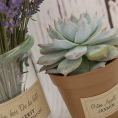 Süße Aufkleber für kleine Gastgeschenke! Planter Pots, Succulents, Paper Mill, Kraft Paper, Guest Gifts, Card Wedding, Sticker, Invitations, Succulent Plants