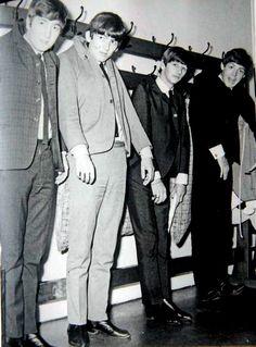 John Lennon, George Harrison, Richard Starkey, and Paul McCartney (The Beatles hanging out)