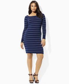 Lauren by Ralph Lauren Emelyn Long Sleeve Striped Cotton Boatneck Dress in Webster Navy