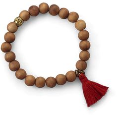 Wood Bead with Red Tassel Fashion Bracelet (920 RUB) ❤ liked on Polyvore featuring jewelry, bracelets, red bangles, wood bead jewelry, wooden bead jewelry, red jewelry and wooden beads jewellery