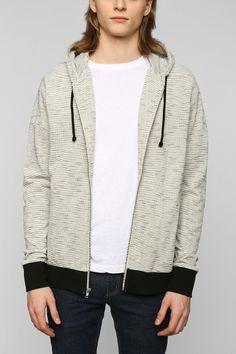 BDG Pique Zip-Up Hoodie Sweatshirt