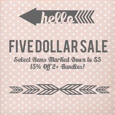 $5 Sale Select items marked down to $5 to make room for new inventory! Plus an additional 15% off bundles. Discount applied automatically Tops
