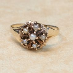 Antique 14k Rose and Yellow Gold Seed Pearl Ring by SITFineJewelry