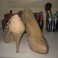 Beige Spiked Heels Worn once, in awesome condition Shoes Heels
