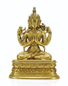Statuette de Shadakshari Avalokiteshvara en alliage de cuivre doré, Mongolie, XVIIIe-XIXe siècle