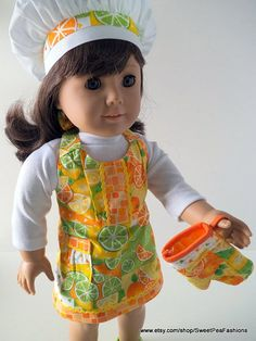 American Girl Citrus Apron Set by SweetPeaFashions on Etsy, $13.00