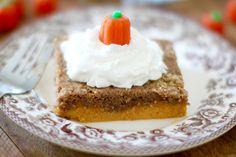 Pumpkin Pie Dump Cake gets it's name by dumping the ingredients into the baking dish. It is like pumpkin pie topped with spice cake and it serves up great!