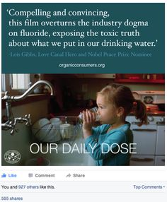 """Erin Brokovich said,  'My career has been about  making people aware of  harmful exposures & the deception  that often accompanies  those exposures.   Drinking water fluoridation is harmful,  we've been deceived  to believe it is safe,  & with newfound knowledge  we must all act now  to stop it.'   Check out this short film  on the health dangers of fluoride: http://www.ourdailydosefilm.com/watch-the-film/ #Fluoride #Health ""  -Organic Consumers Association  pass"