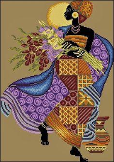 Africanas punto de cruz Butterfly Cross Stitch, Cute Cross Stitch, Cross Stitch Flowers, Cross Stitch Charts, Counted Cross Stitch Patterns, Cross Stitch Embroidery, Cross Stitch Silhouette, Art Africain, Africa Art