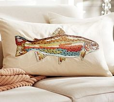 ♒ Enchanting Embroidery ♒ embroidered pillow covers with fish | pottery barn