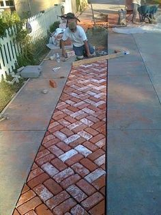 Concrete Driveway with Brick Herringbone Center Strip Driveway Design, Driveway Ideas, Concrete Driveways, Walkways, Permeable Driveway, Brick Driveway, Brick Pathway, Brick Pavers, Garden Paths
