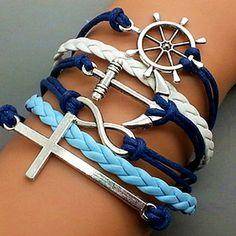 Cross Bracelet-Infinity Bracelet  -Anchor Bracelet- Rudder Bracelet-Silver Charm Cute Bracelet  Personalized Jewelry 664P