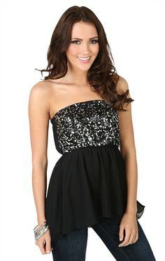 Deb Shops Strapless #Chiffon #Top with #Sequin Bodice and High Low Hem $22.90