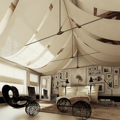 Tent-inspired rooms... just because I'm all grown up doesn't mean I can't still make forts.