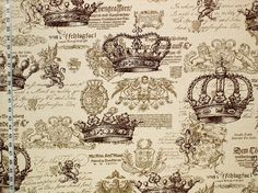 Medieval fabric crown document script from Brick House Fabric: Novelty Fabric