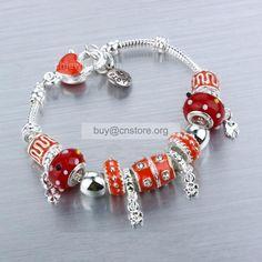 #Pandora Sterling Chapada Red Glaze Resin Coated Bead #Charm #Bracelet From China Flower
