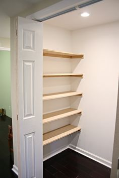 Home♥♥ DIY: How to Build Inexpensive Shelves - using MDF, wall anchors and lots of primer and paint, Building Shelves In Closet, Wood Closet Shelves, Build In Closet, Build Shelves, Easy Shelves, Small Closet Organization, Closet Storage, Diy Organization, Storage Area