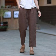 73c7b1d675 Women Linen and Cotton Casual Cropped Pants – Water-washed Linen and