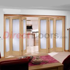 Nuvu Folding Seville Oak Veneered 6 Door Set with Frosted Safety Glass, 2078mm high and 4188mm wide  #foldingoakdoors