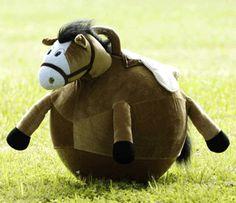 Brown Plush Ball Bouncy Horse