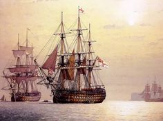 The Ville de Paris, 110 Guns, in Tor Bay, 1805 (Derek Gardner) Old Sailing Ships, Ship Of The Line, Ship Paintings, Old Boats, Sail Boats, Wooden Ship, Nautical Art, Navy Ships, Ship Art