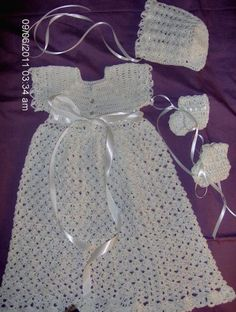 Crocheted Baptismal / Christening Gown / Bonnet / Booties in White, via Flickr.