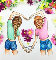 Girlfriends, heart and flowers art.
