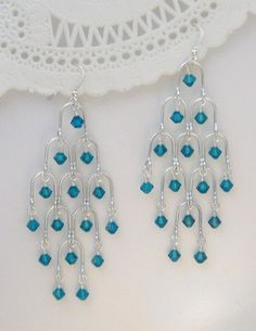 Beaded Jewelry Sterling Silver Arches and Swarovski Crystals Chandelier Earrings, Teal - Metal Jewelry, Beaded Jewelry, Beaded Necklace, Beaded Bracelets, Jewelry Findings, Onyx Necklace, Bracelet Charms, Silver Bracelets, Silver Jewelry