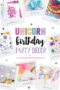 Unicorn Birthday Party Decorations + Party Favors | by Jessica Wilcox of Modern Moments Designs | www.modernmomentsdesigns.com