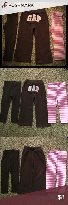 3T lot of girls pants, Gap/Gymboree/Circo Lot of fun and comfy pants for your little lady.  The brown fleece sweatpants are from Gap and have a little bit of wear on the knees (fabric is matted down but not torn or frayed).  The brown leggings are from Gymboree.  The pink & white leggings are from Circo and have VERY faint stains on knees.  Last photo is of the knees of all the pants for reference. Bottoms Leggings